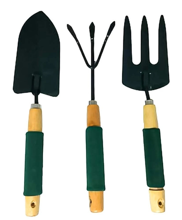 Gardening Tool Wood Handle Cultivator Trowel Forks Tool Set (3 pack) - H01055