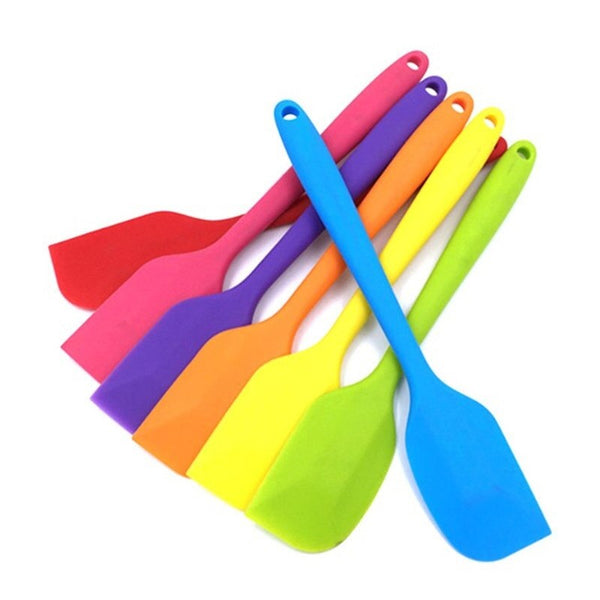 1 Pc Full Silicone Spatula 27 Cms ( Random Color ) - H01070
