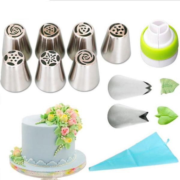 11 Pcs Set - Russian Nozzles , Silicone Icing Bag, Adaptor - H01101
