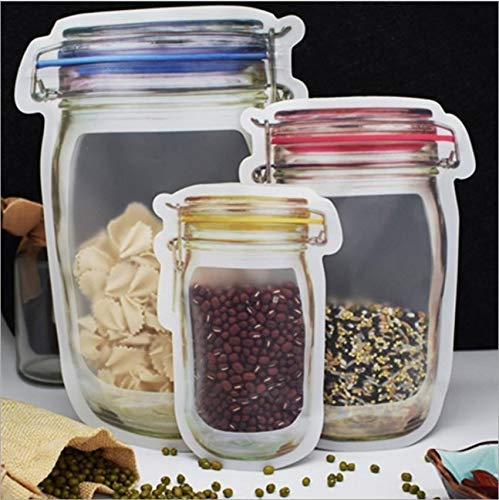 3 Pcs Combo Reusable Airtight Seal Plastic Food Storage Mason Jar Zipper Bags - H01146