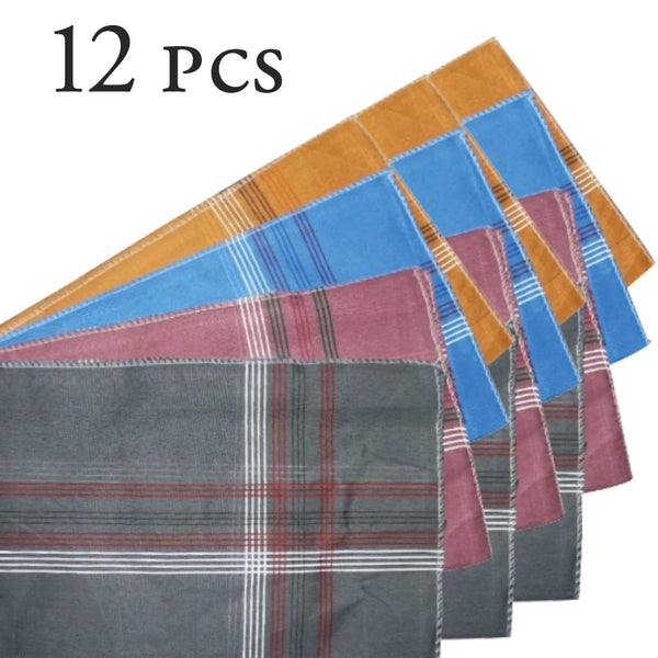 Men's King Size Formal Handkerchiefs for Office Use - Pack of 12 - H01177
