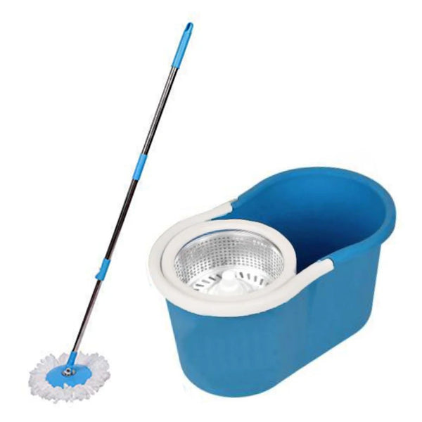 Heavy Duty Microfiber Spin Mop with Plastic Bucket & Rotating Steel Pole Head - H01180