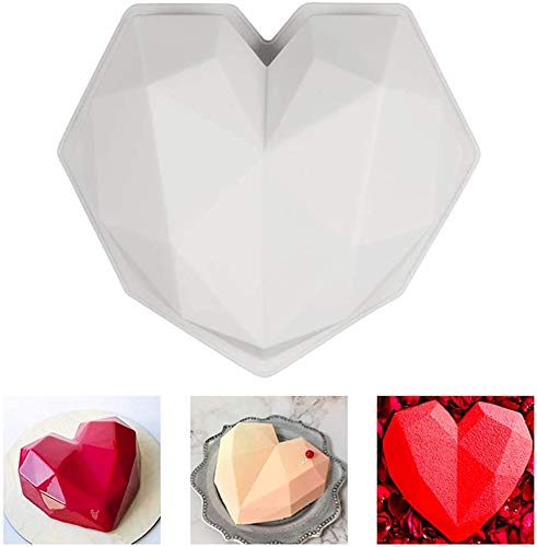 1Pc Diamond Heart Shaped Silicone Mold 3D Cake Mould - H01217