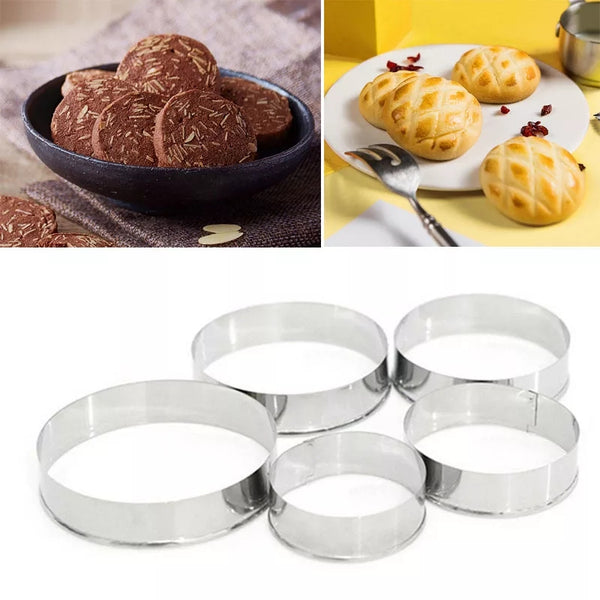 5 Pcs/Set Biscuit Molds Multi-Function Stainless Steel Round Shape Cookie Cutter  - H01223