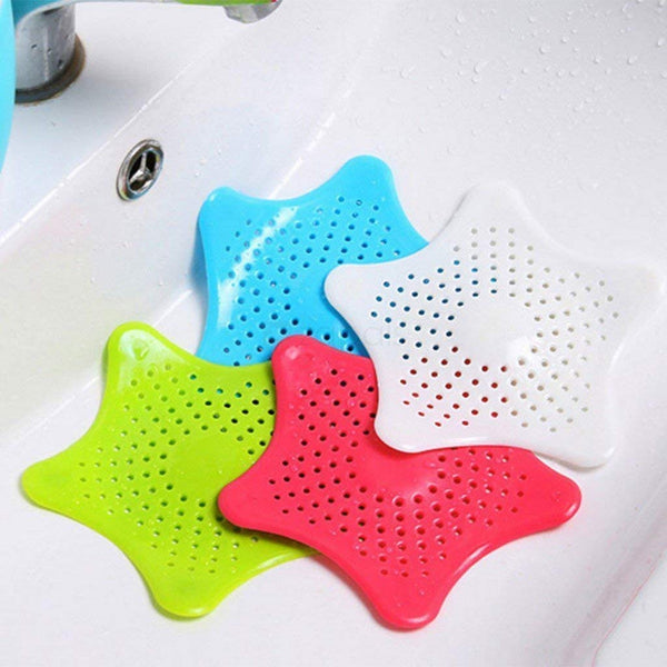 2 Pcs - Silicone Star Shaped Sink Filter Bathroom Hair Catcher, Drain Strainers Cover Trap Basin - H01259