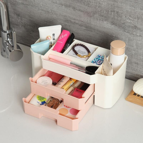 Double Drawer Plastic Functional Desktop Storage Boxes Drawer Mini Makeup Multipurpose Organiser( Random Color) - H01281