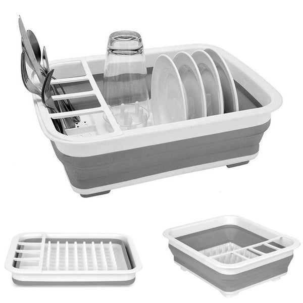 Collapsable Dish Drying Rack Portable Dish Drainer Dinnerware Organizer  - H01310