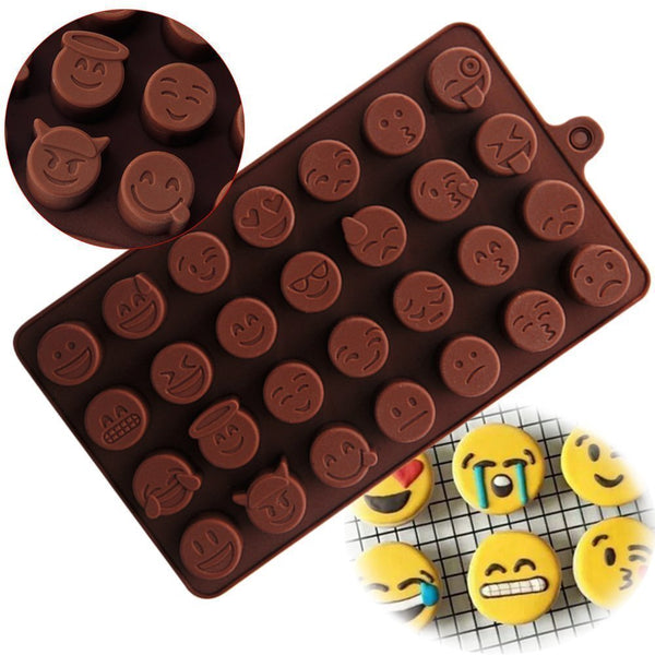2 Pcs - 28 Cavity Smiley Faces Brown Chocolate Mould - H01331
