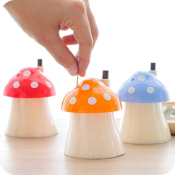 2 Pcs - Mushroom Shape Automatic Toothpick Holder Box - H01334