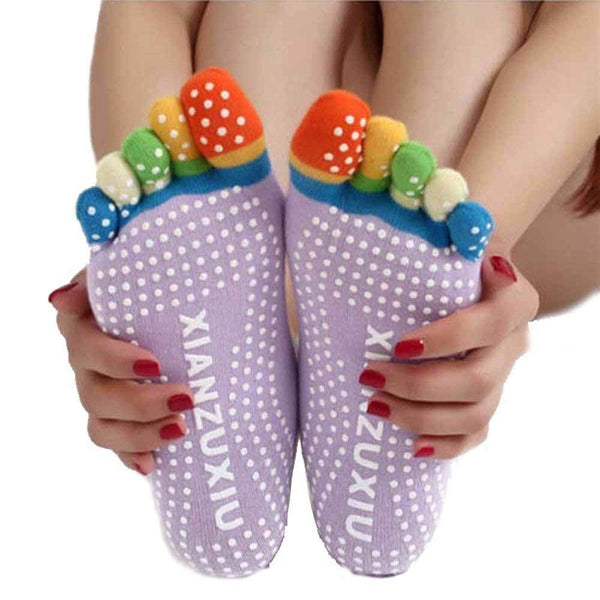Women's Acrylic Yoga Gym Non-Slip Massage Full Grip 5-Toe Socks (Random Colour) - H01337
