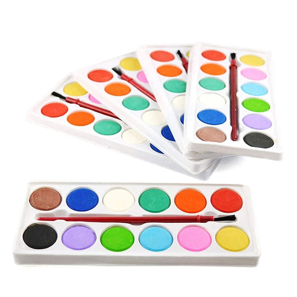 Pack of 5 - Painting Water Color Kit - 12 Shades and Paint Brush (13 Pcs) - H01394