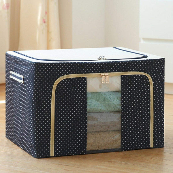 Fabric Foldable Box Steel Frame Collapsible Wardrobe Storage Organizer Bag - H01426