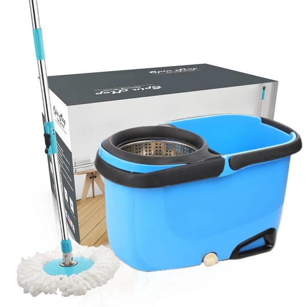 Heavy Duty Microfiber Spin Mop with Plastic Bucket (Multicolour) - H01582