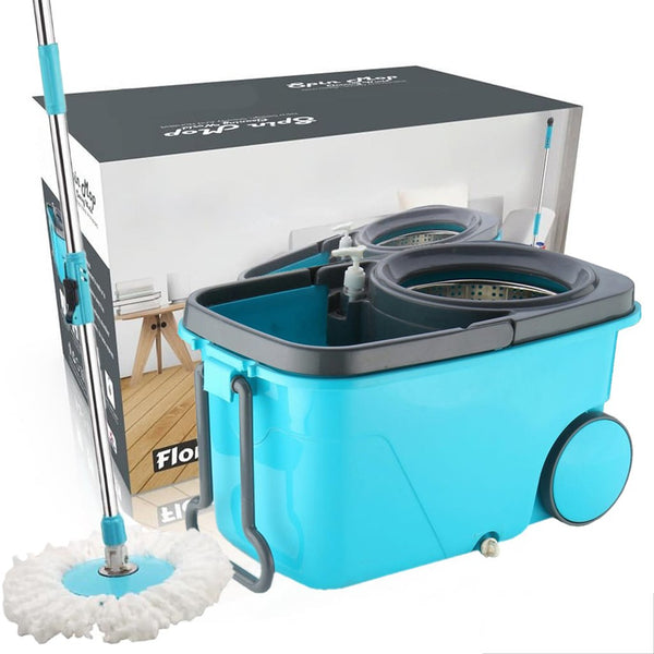 Heavy Duty Microfiber Spin Mop with Plastic Bucket With Wheels  - H01584