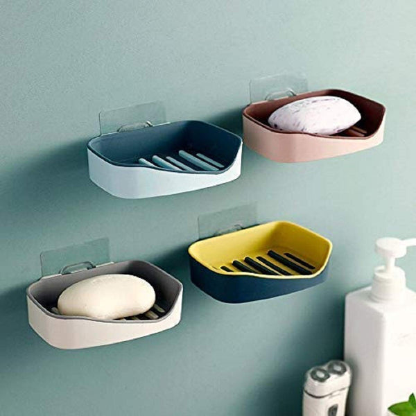 2 Pcs - Fancy Plastic Soap Dish (Random Colors) - H01591