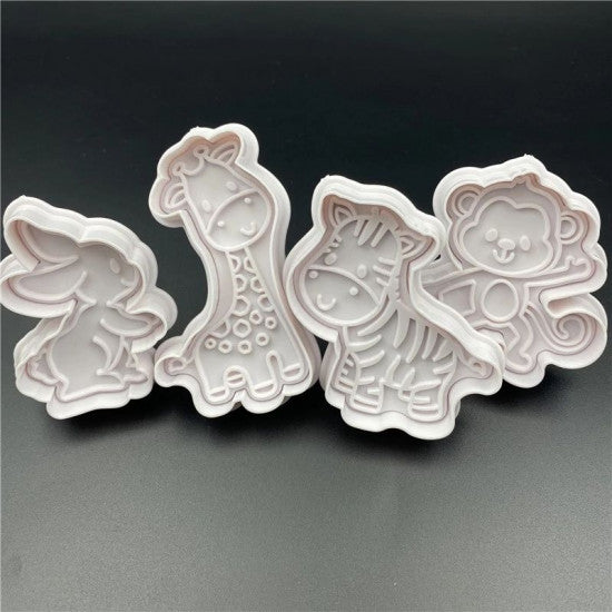Giraffe, Monkey, Rabbit, Tiger Plunger Cutter - H01636