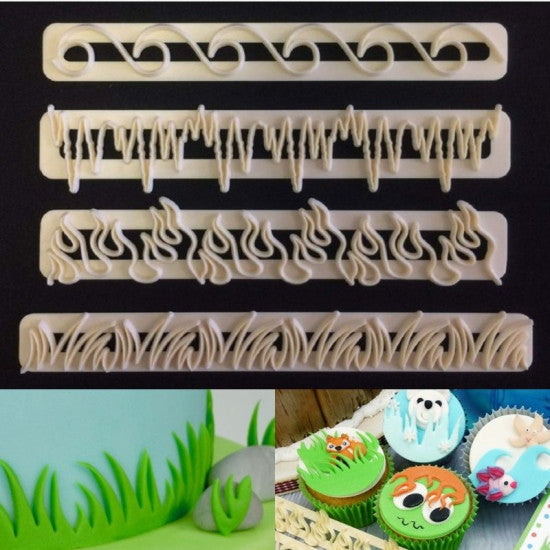 Grass, Waves, Flames & Icicles Fondant Cutter Strips Set of 4 Pieces - H01637