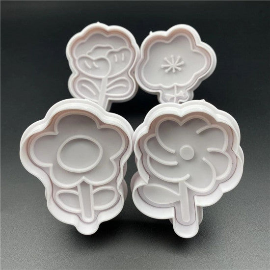 Mix Floral Shapes Plunger Cutter Set of 4 Pieces - H01644