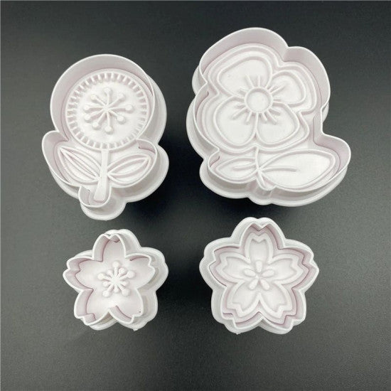 Mix Flower Shapes Plunger Cutter Set of 4 Pieces - H01645