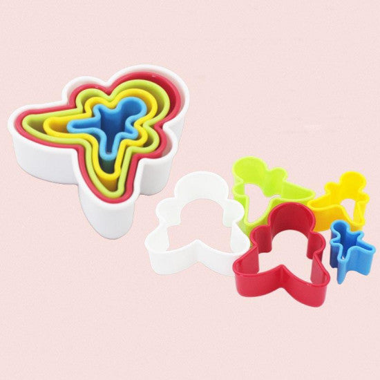 Multi Colour Gingerman Shape Plastic Cookie Cutter - Set of 5 Pieces - H01646