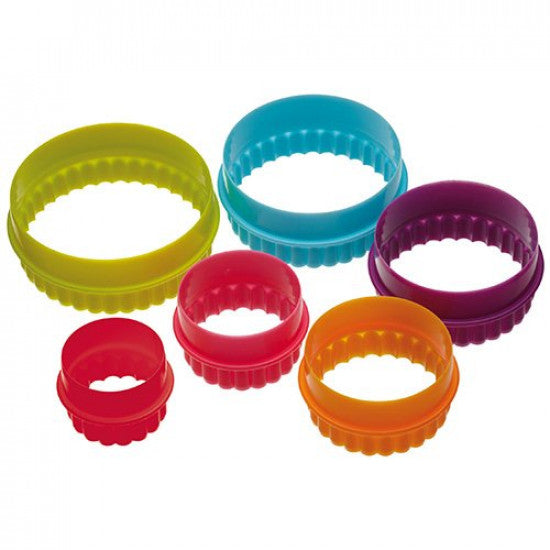 Multi Colour Round Shape Plastic Cookie Cutter - Set of 6 Pieces - H01648