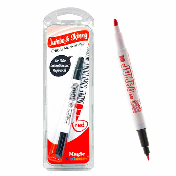 Red Edible Marker Jumbo & Skinny - Magic Colours - H01666