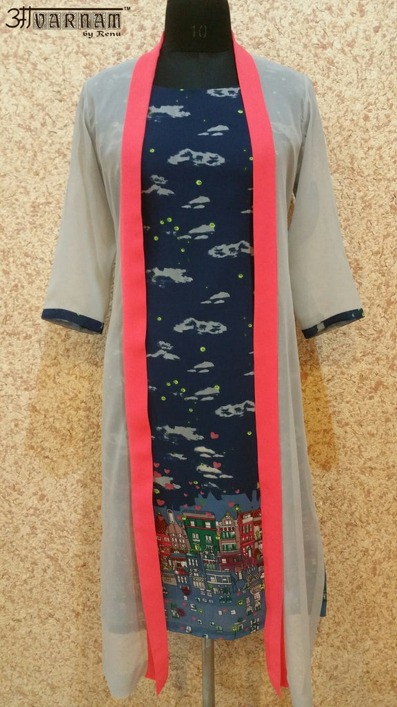 Aavarnam By Renu - Multi Color Kurti With Cape - EGBRK00530 - ALL MY WISH