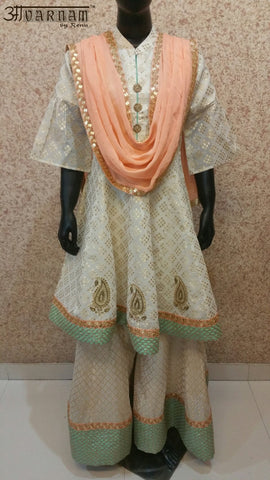 Aavarnam By Renu - Flared Shirt With Kalidar Sharara and Dupatta - 2510K00608