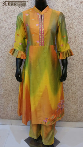 Aavarnam By Renu - Embroidered Shirt With Pallazo - 2547K00626