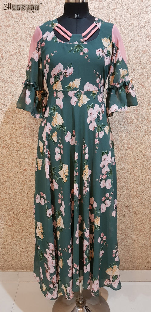 Aavarnam By Renu - Flared Floral Maxi Dress - EEBRK00710 - ALL MY WISH