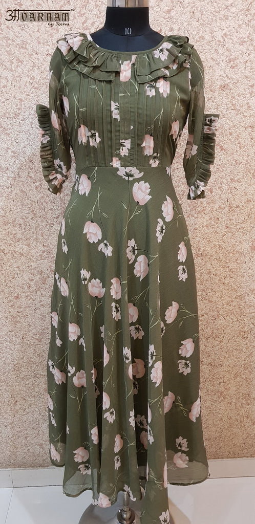 Aavarnam By Renu - Flared Floral Maxi Dress - EEVRK00714 - ALL MY WISH