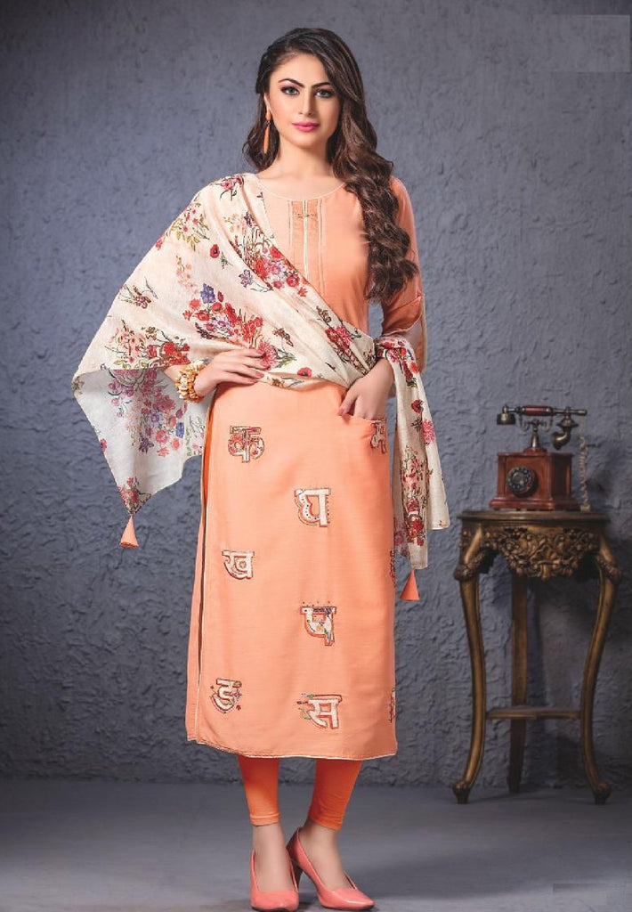 Embroidered Long Cotton Kurti With Stole - R00055 - ALL MY WISH