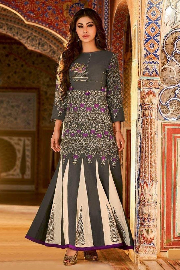 Soft Cotton Embroidered Flared Kalidar Dress - R00149 - ALL MY WISH
