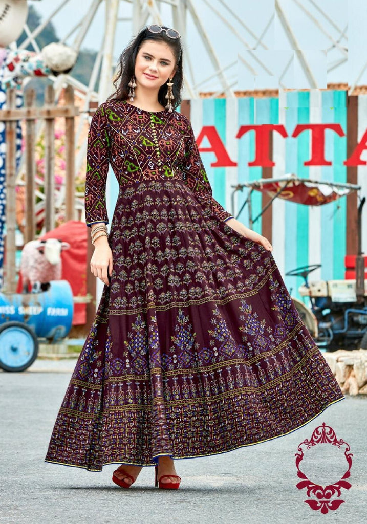 Flared Kalidar Reyon Cotton Dress - R00202 - ALL MY WISH