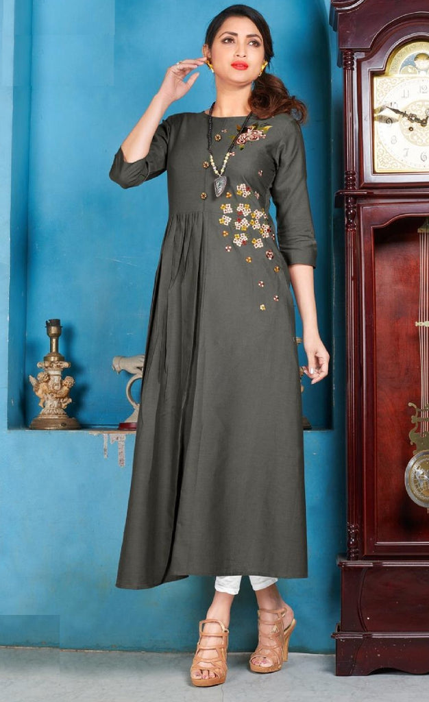 Embroidered Cotton Kurti - R00239 - ALL MY WISH