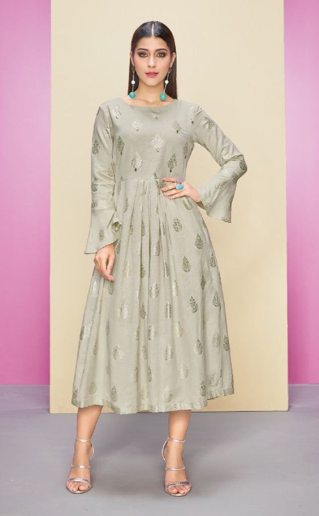 Semi - Formal Reyon Cotton Kurti - R00249 - ALL MY WISH