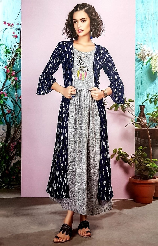 Embroidered Shirt With Long Cape - R00257 - ALL MY WISH