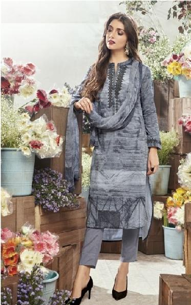 Embroidered Cotton Un-Stitch Suit - S00081 - ALL MY WISH