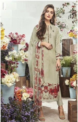 Embroidered Cotton Un-Stitch Suit - S00082