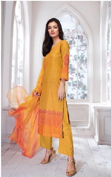 Embroidered Cotton Un-Stitch Suit - S00089 - ALL MY WISH