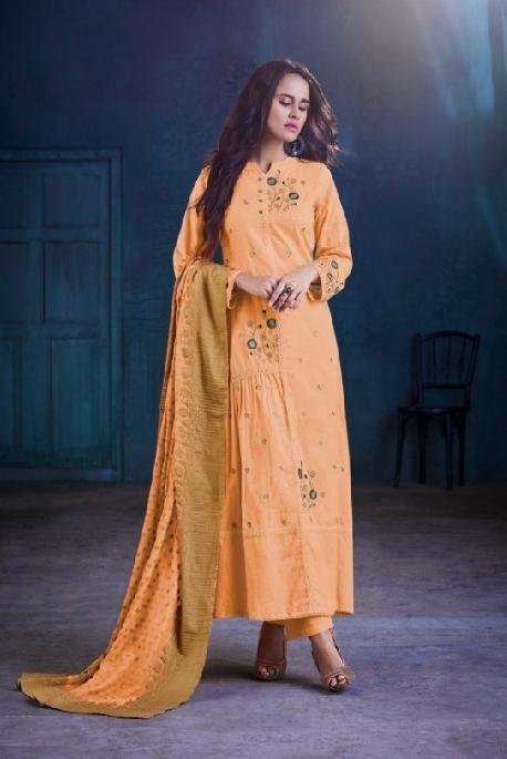 Cotton Embroidered Un-Stitch Suit - S00099 - ALL MY WISH