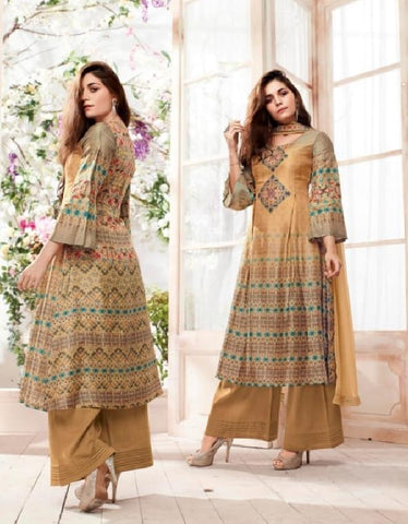 Russian Silk Crepe Digital Printed Un-Stitch Suit With Light Handwork  - S00132