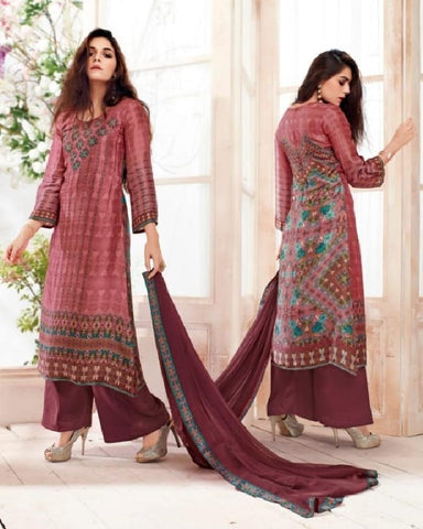 Russian Silk Crepe Digital Printed Un-Stitch Suit With Light Handwork  - S00133