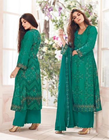 Russian Silk Crepe Digital Printed Un-Stitch Suit With Light Handwork  - S00134