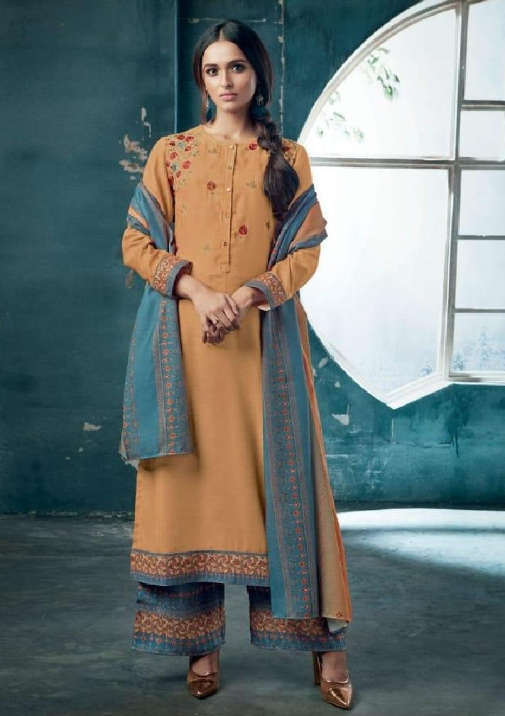 Embroidered Pashmina Un-Stitch Suit - S00202 - ALL MY WISH