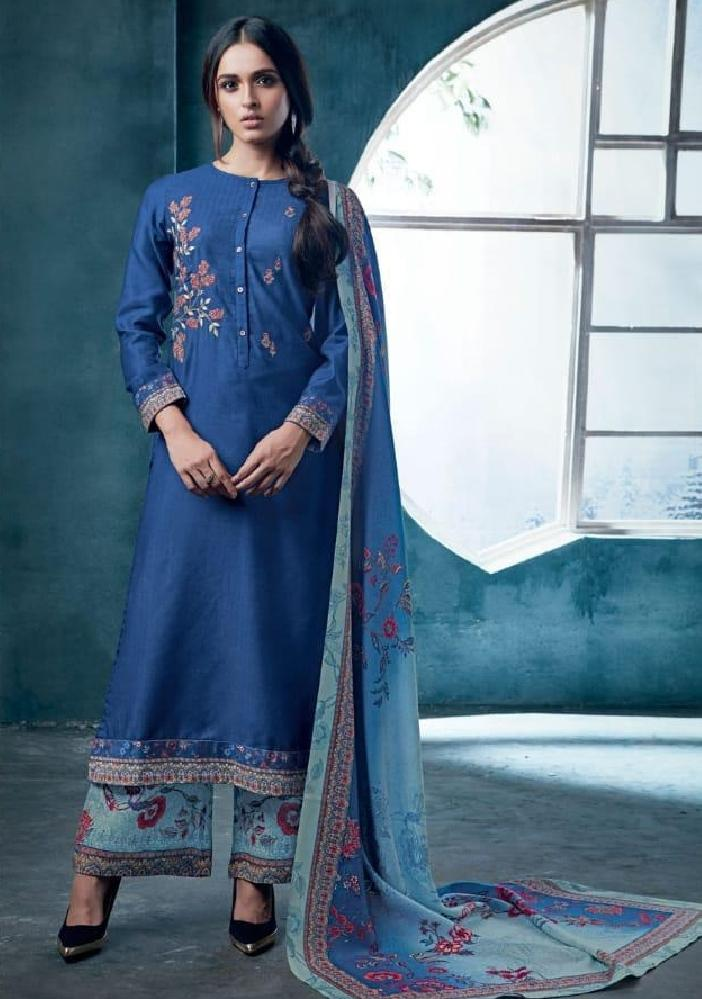 Embroidered Pashmina Un-Stitch Suit - S00203 - ALL MY WISH