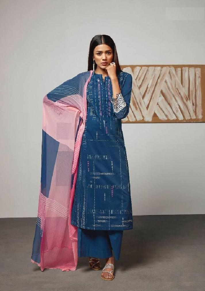 Digital Printed Cotton Un-Stitch Suit With Embroidered Sleeves - S00214 - ALL MY WISH
