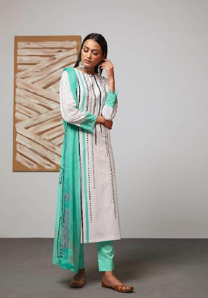 Digital Printed Cotton Un-Stitch Suit With Embroidered Sleeves - S00219 - ALL MY WISH