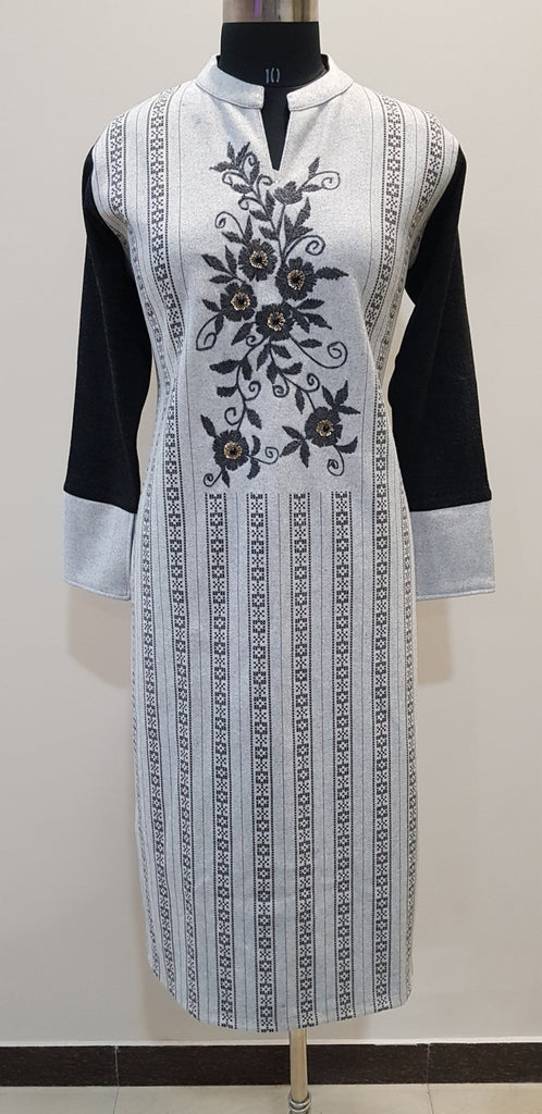 Embroidered Woollen Kurti - W00241 - ALL MY WISH