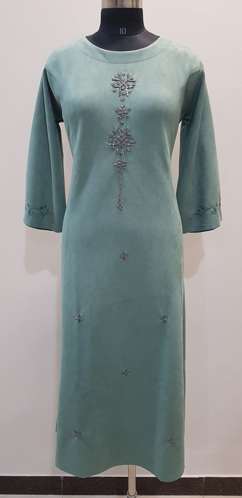 Embroidered Woollen Dress - W00273 - ALL MY WISH